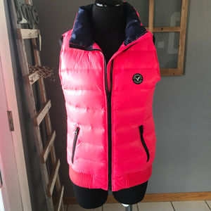 American Eagle Neon Pink Black Shiny Puffer Vest S